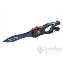 Нож SARGAN Сталкер-стропорез Z1 - покрытие синий камуфляж
