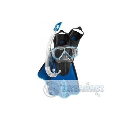 Маска CRESSI Набор ONDA MAREA COBO (маска ONDA + трубка MEXICO) прозрачный силикон синий