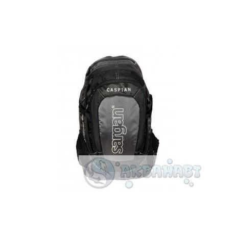 Рюкзак SARGAN городской КАСПИЙ с дополнительным чехлом от дождя, черно/серый 22л